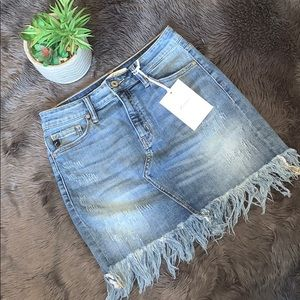 Kancan Los Angeles Fringe Denim Skirt